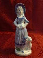BT jelzésű német porcelán figura, kutyás lány, magassága 18 cm.