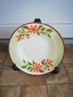 Gyönyörű ritka Kőbánya zománcos, Zománcozott virágos tányér, nosztalgia darab, paraszti dekoráció