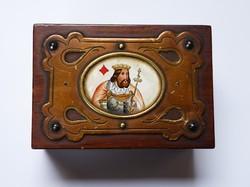 Antik,rézveretes,festett kártyatartó doboz.