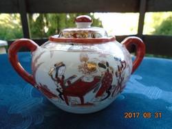 Kézzel festett, aranyozott, Zenélő gésák a kertben mintával japán cukortartó