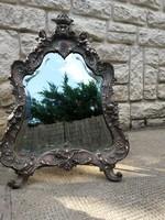 Angyalkák, angyalos kitámasztó toalett tükőr, eredeti öntés!! Finom, mesteri, öntöttvas! Bronzirózot