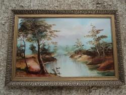 Paál Valéria Eszter kortárs festőnő a Romantikus tájkép című festménye