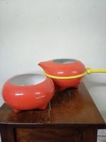 Zsolnay jelzésű porcelán retro kávés készlet , 2 személyes . Kézzel festet piros máz. F-17
