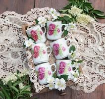 6 db Zsolnay pajzspecsétes rózsás szoknyás bögre - csésze egyben