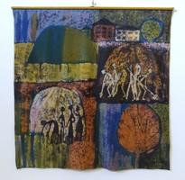 1B095 Szuppán Irén : Retro alakok batikolt jelzett festmény 138 x 138 cm