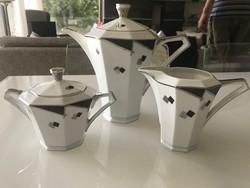 Art deco porcelán  teáskanna cukortartóval és tejkiöntővel, Victoria, Czechoslovakia
