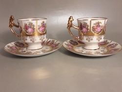 Antik festett zsáner jelenetes aranyozott jelzett porcelán kávés 2 db kávés csésze + 2 db csészealj