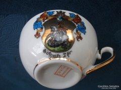 Antik Lovagi címeres kézzel festett C.W.DEESBACH&Co  német aranyozott gyűjteményes mokkás csésze