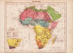 Afrika térkép 1885, Magyar Lexikon, Rautmann Frigyes, Szahara, Nílus, Egyiptom, Somal, Fokföld