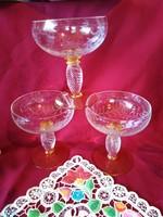 Hol6  Rendkívül mutatós 3 db  Theresienthal csiszolt boros v. pezsgós kristály pohár 12 cm