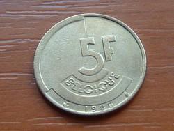 BELGIUM BELGIQUE 5 FRANK 1986 #