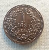 1 krajcár Magyar Királyi Váltópénz 1887 UNC ritka