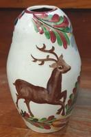 Fischer Emil gyönyörű szarvasos porcelán vázája, hibátlan,18 cm-es