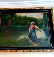 Külföldi Mesebeli 1800-as évekbeli gyönyörű festmény ! Minimár ár nincs