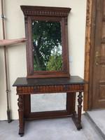 Ónémet fésülködő asztal márvány lappal és különálló tükörrel