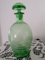 Régi zöld színú ,  csíkos festésű llikőrös üveg , palack Vagy pálinkás.Szakított öveg