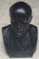Szignózott Lenin büszt, Pekaref,23 cm-es fémöntvény.