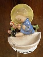 """Hűmmel  nemet porcelán figurális szent víz tartó, fali dísz. """" ANGYAL """". Kézzel festet. L- 7"""