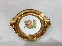 Aranyozott porcelán hamutartó