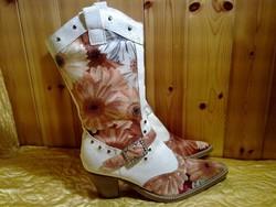 Gyönyörű új  gerberás virágos nyári női csizma cirkónia drágaköves csattal cipő 40