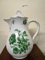 Meseszép nemet Meissen porcelán kávé  kiöntő. Zöld virágokkal. Kézzel festet.L-5