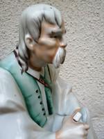 "Zsolnay színes porcelán figura. ""Szalonnát  evő paraszt"".  L-3"
