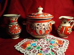 No3 3 db Korondi vörös és fekete festésű kerámia edény 11-15 cm 