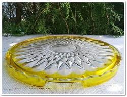 Art Deco vastagfalú sárga peremű üveg tortatál