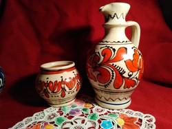 No3 2 db Korondi vörös és fekete festésű kerámia edény 8 és 19 cm