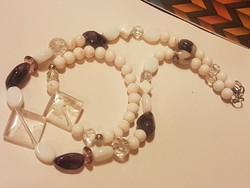 Hegyikristály Ametiszt és porcelán gyöngy kézműves ékszerszett.