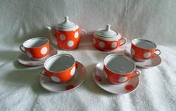 Régi aranyozott piros-fehér pöttyös porcelán kávés készlet