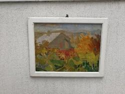 Modern Szines hangulatos Vidéky Brigitta festmény