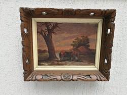 Lovak festmény, Németh György, hangulatos fakeretben! Naplemente szines kép.