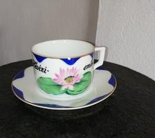 Nagyon ritka Hévízi Emlék Zsolnay csésze szett, csészealj +csésze. Gyűjtői darab