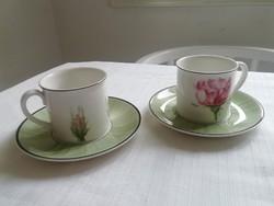PORCELÁN  Villeroy & Boch rózsás csésze pár 2 csésze + csészealj rózsa