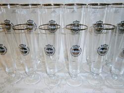 2 x 6 db talpas üveg sörös pohár készlet 2 és 4 dl-es Warsteiner felirattal