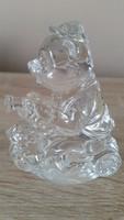Ólomkristály kis szobor, dísz  eladó!Mororos  Maci német ólomüveg dísz