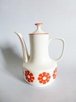 Retro,vintage,Hollóházi piros virág mintás kávéskanna