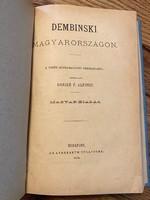 Danzer F. Alfonsz - DEMBINSKI MAGYARORSZÁGON - 1874!!!