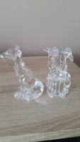 Ólomkristály kis szobor, dísz eladó! Zsiráf pár német ólomüveg dísz