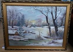 Petreczné Juci Téli havas falu festmény