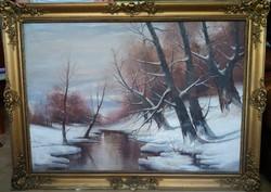 Rácz Kálmán Téli havas patakpart festmény