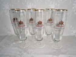 6 db talpas üveg sörös pohár készlet 2,5 dl-es Henninger Kaiser felirattal
