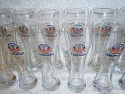 2 x 6 db üveg sörös pohár készlet 3 és 5 dl-es Erdinger felirattal