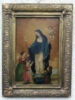 Antik, egyházi jellegű biedermeier Szentkép, festmény imádkozó gyerekek,és angyalka. Mária kígyó...