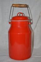 Zománcos piros tejes kandli ( nagyobb méretű )