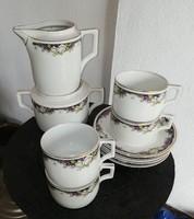 Ritka Zsolnay Rózsás, Ibolyás 4 db csésze szett, cukortartó, tejszínes, Gyűjtői darab