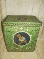 Antik nagyméretű tea fémdoboz 33cm