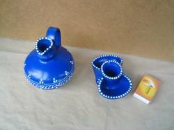 Festett kék kis dísz kancsó és sótartó (fűszertartó)