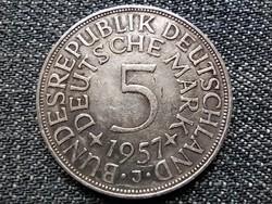 Németország NSZK (1949-1990) .625 ezüst 5 Márka 1957 J (id22976)